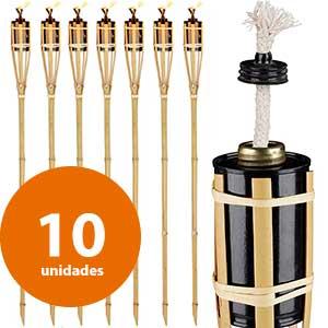 10 antorchas bambú Relaxdays