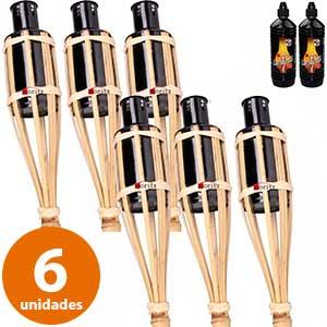 Set de 6 antorchas de bambú con dos botellas de combustible Moritz