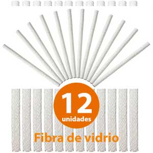 Mechas de fibra de vidrio para antorchas 12 unidades - Wallfront