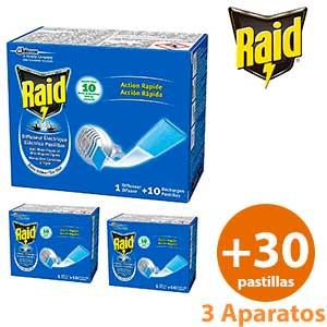 Antimosquitos eléctrico Raid 3 ud. + 30 pastillas