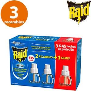 Oferta promocional recambio Raid 2+1 gratis