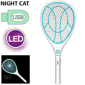 Raqueta mata mosquitos recargable usb Night Cat