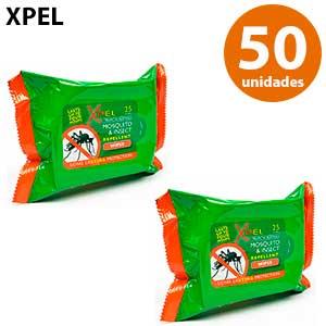 Toallitas citronela antimosquitos Xpel - 2 bolsas de 25 unidades