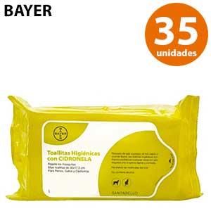 Toallitas húmedas de citronela para mascotas Bayer 35 ud