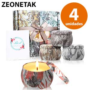 4 velas de citronela decorativas Zeonetak