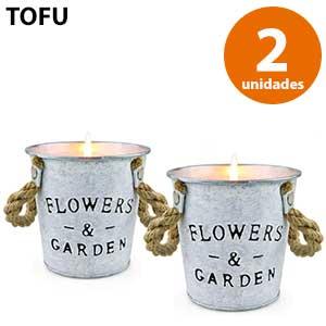 2 vasos de aluminio grandes vela citronela Flowers&Garden